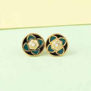 Henri Bendel Enamel Claremont Earrings - Green